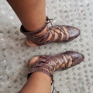 Joie Shoes - Joie snakeskin lace up flats sz 9 like new